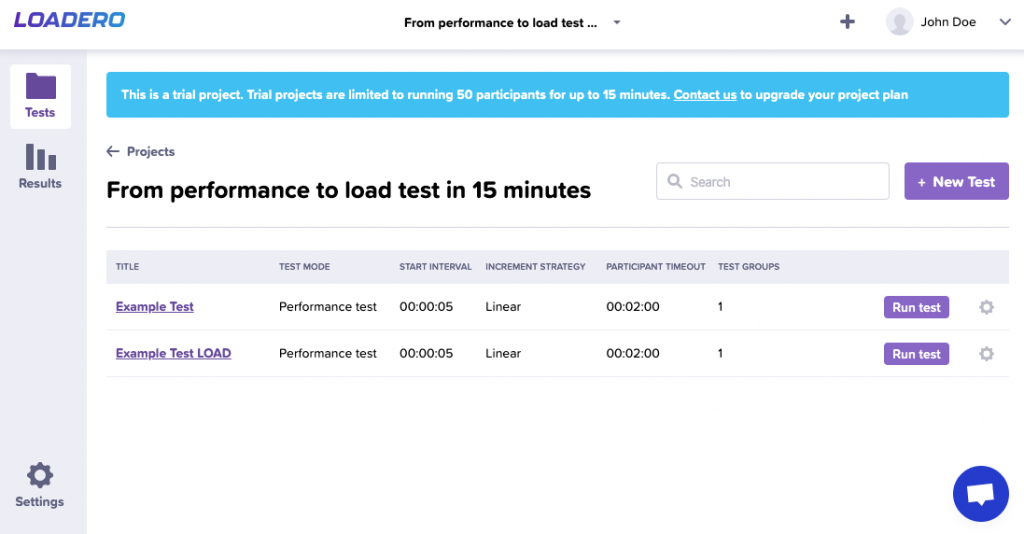 perform load testing